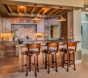 Home bar with brick